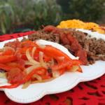sauteed peppers, sauteed onions, turkey taco meat