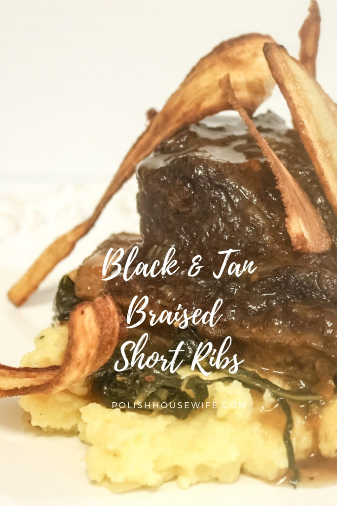 short ribs on on top of polenta and greens