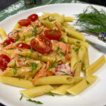 Polish pasta with salmon
