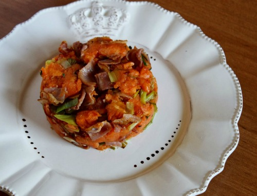 sweet potato with leek and bacon