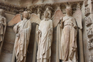 smiling angel, angels open wings, Reims, Notre Dame, cathedral