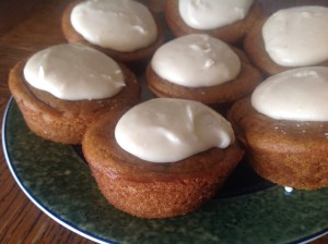 Vegan sweet potato cupcakes with cashew cheese frosting