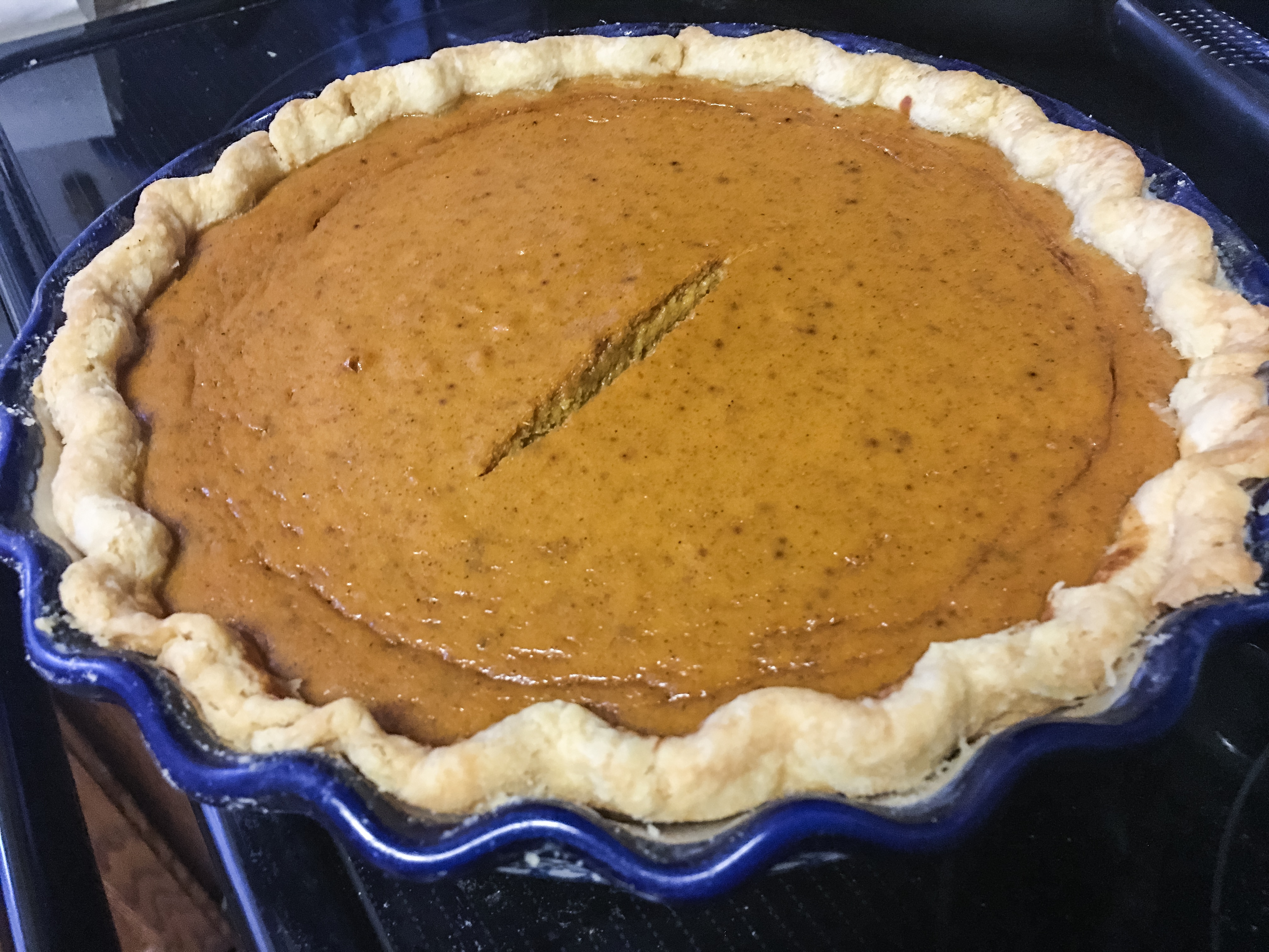 Marie Callender's pumpkin pie recipe just out of the oven