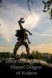 dragon statue on a hill outside Wawel Castle in Krakow, Poland