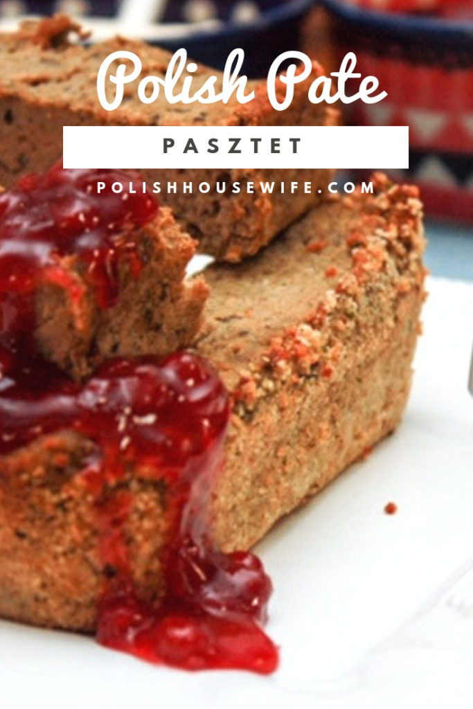 slices of polish pate topped with red lingonberry jam