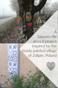 a tree in zaliepie. poland painted with a floral motif and a talavera tile stencil pattern on a cement block wall