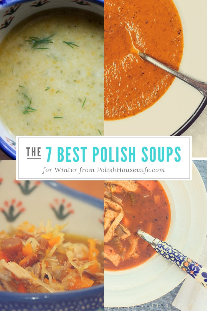 collage of Polish soups