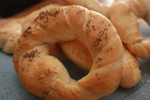 krakow bagel or pretzel with poppy seeds