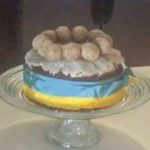 simnel cake wrapped in ribbon