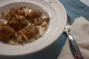 Polish meatballs - Klopsiki in a sour cream and mushroom sauce