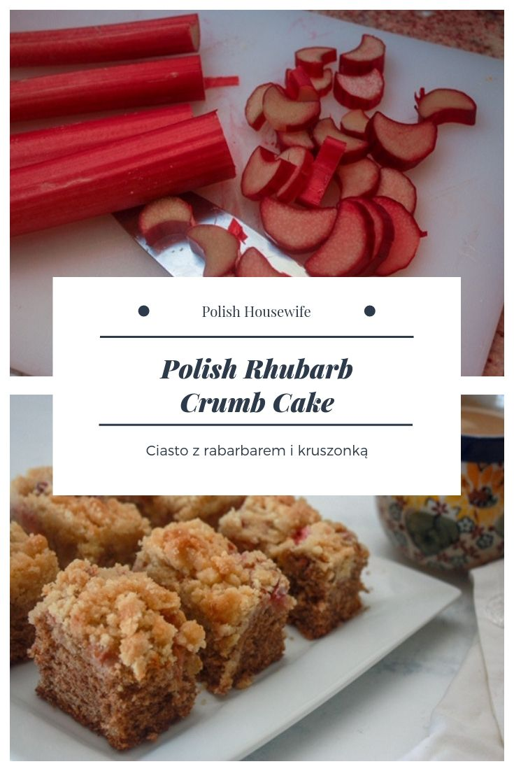 sliced red stalks of rhubarb and Polish rhubarb cake