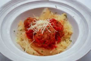 Polish meatballs - klopsiki in a tomato sauce with spaghetti squash
