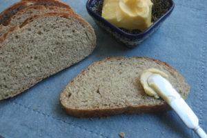 Polish sauerkraut bread and butter on a blue cloth