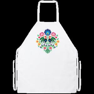 White apron with colorful Polish folk art