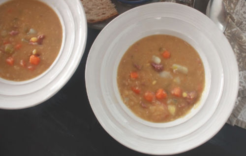 two bowls of Polish split pea soup
