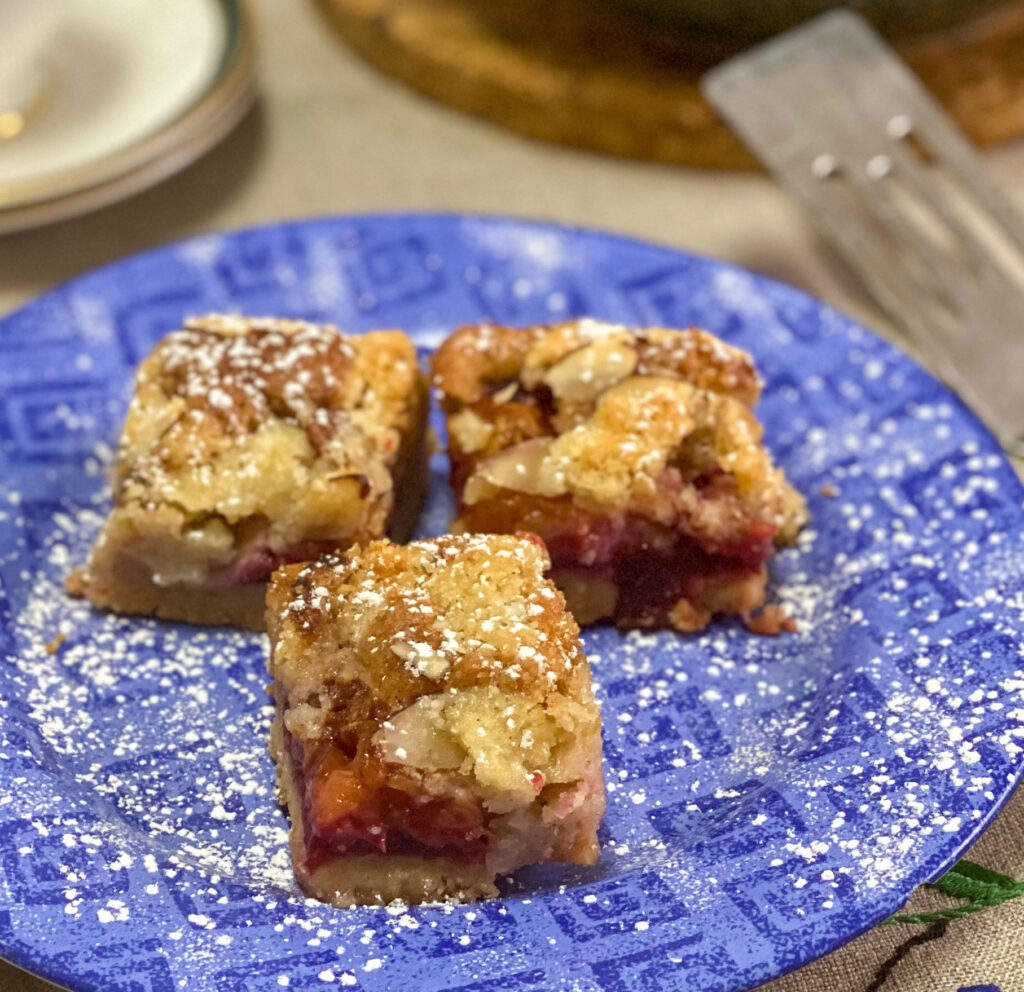 Polish plum cake on a blue plate