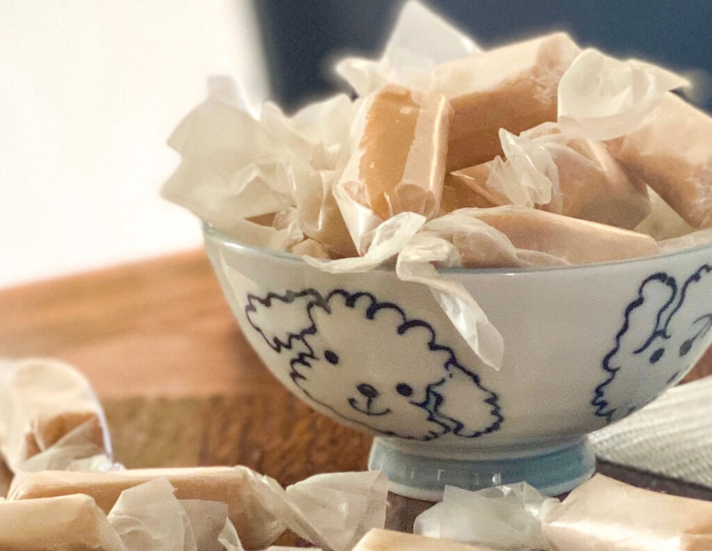 wrapped pieces of Polish cream fudge in a cute little bowl