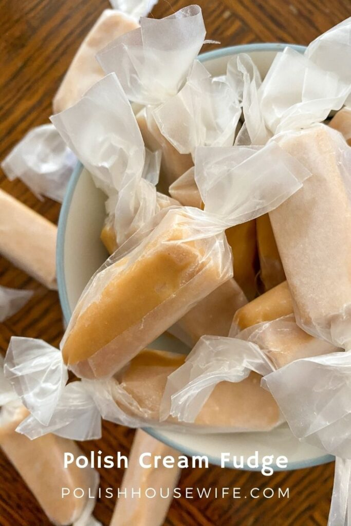 Polish cream fudge wrapped in waxed paper