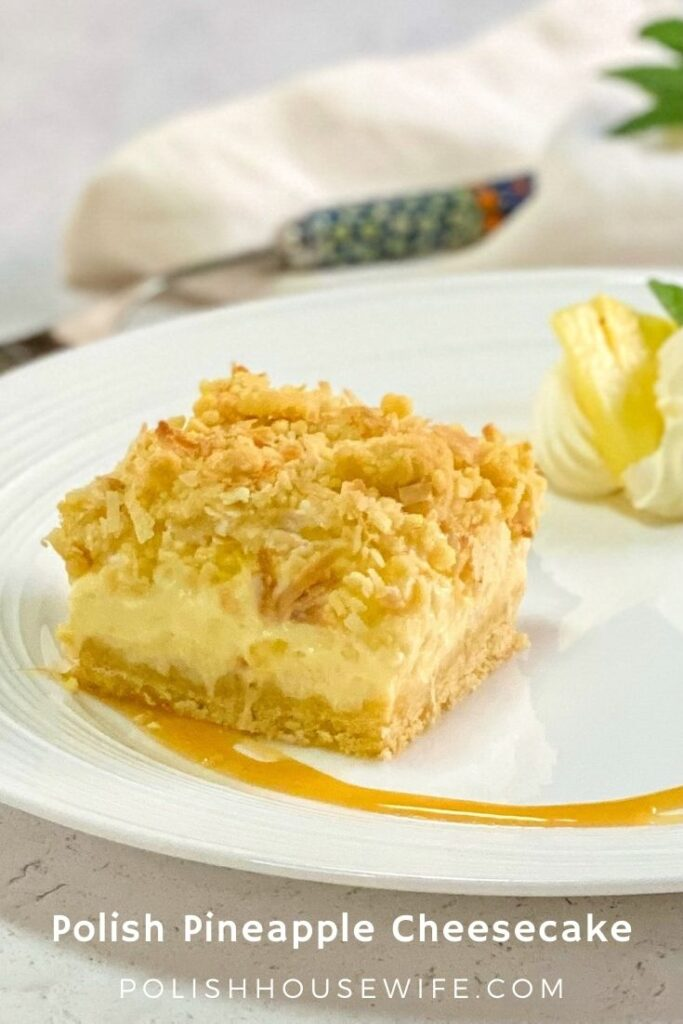 Polish pineapple cheesecake on a white plate
