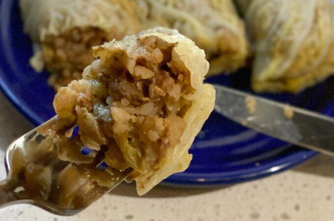 Buckwheat and mushroom cabbage rolls