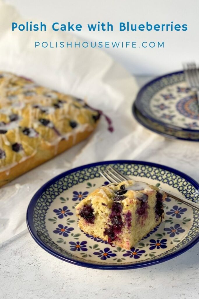 Polish cake with blueberries on polish pottery