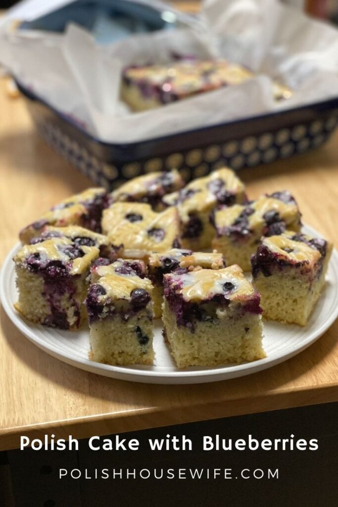 pieces of Polish cake with blueberries on a plate