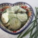 Polish cucumber salad in a Polish pottery bowl